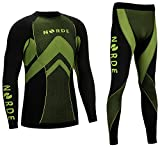 Norde THERMOTECH Herren Funktionswäsche Thermoaktiv Atmungsaktiv Base Layer Set Outdoor Radsport Running (Schwarz/Lime, S)